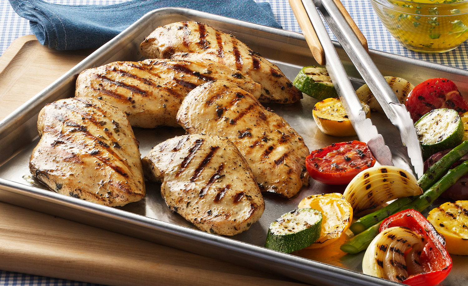 Grilled Chicken And Vegetables On Baking Pan | Tony Kubat Photog