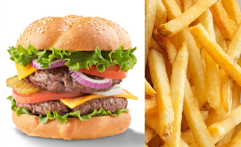 Bacon Cheese Burger With French Fries | Tony Kubat Photography