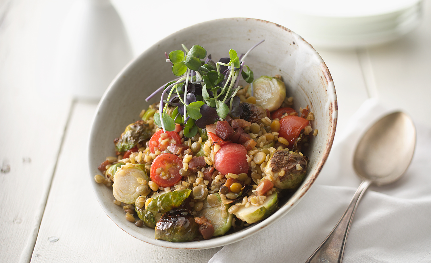 Brussel Sprout Lentil Salad | Tony Kubat Photography