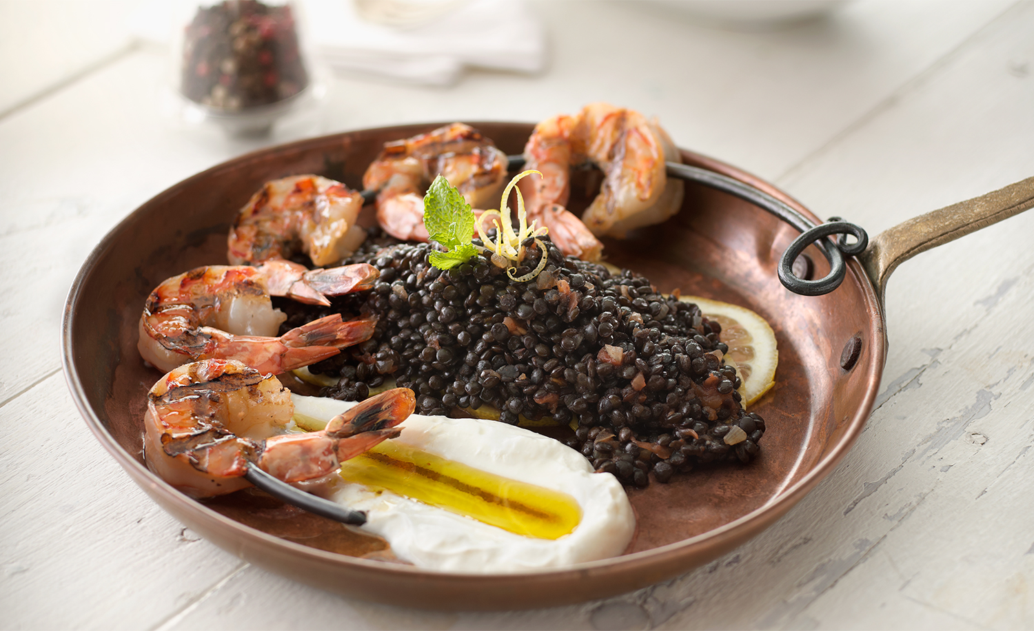 Grilled Shrimp and Lentils | Tony Kubat Photography