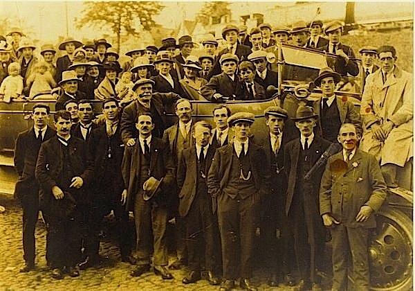 Photographer unknown,  Family Charabanc Trip , near  Blaina, Blaenau Gwent, Wales , c. early 1920s