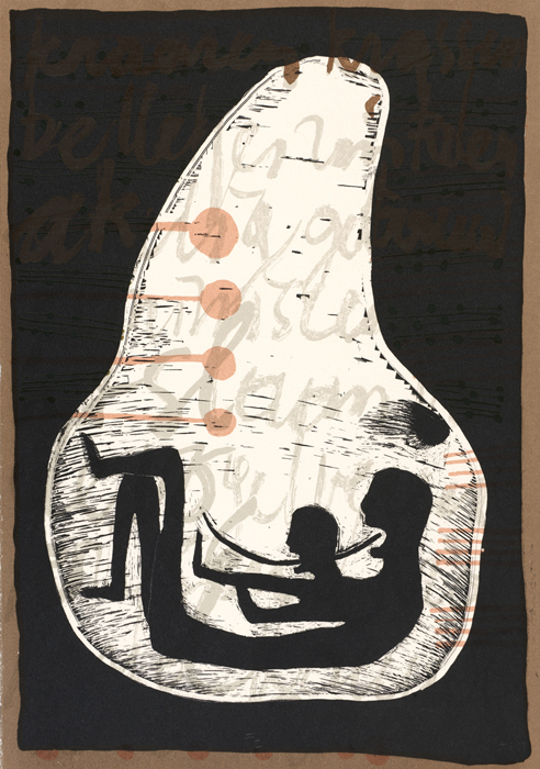 Garth Erasmus    Garth novene #2 a womb of song    2003  screenprint  edition   35  image   330 x 235 mm (h x w)  paper 330 x 235 mm (h x w)