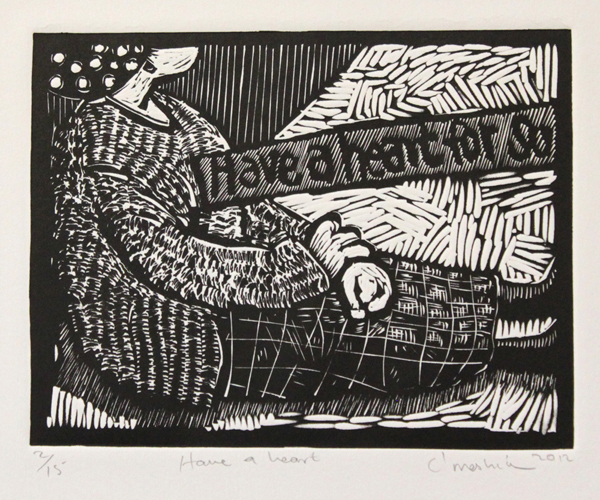 Colbert's linocuts were shown as a solo exhibition at The Sherman Gallery at Boston University College of Fine Arts in September 2012.    Colbert Mashile    Have a Heart   2012  linocut   edition size  15   image  15 x 20 cm (h x w)   paper  29,5 x 34,5 cm (h x w)