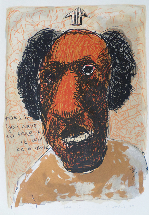 Colbert Mashile    Take It   2008  screenprint   edition size  30   image  49 x 35 (h x w)