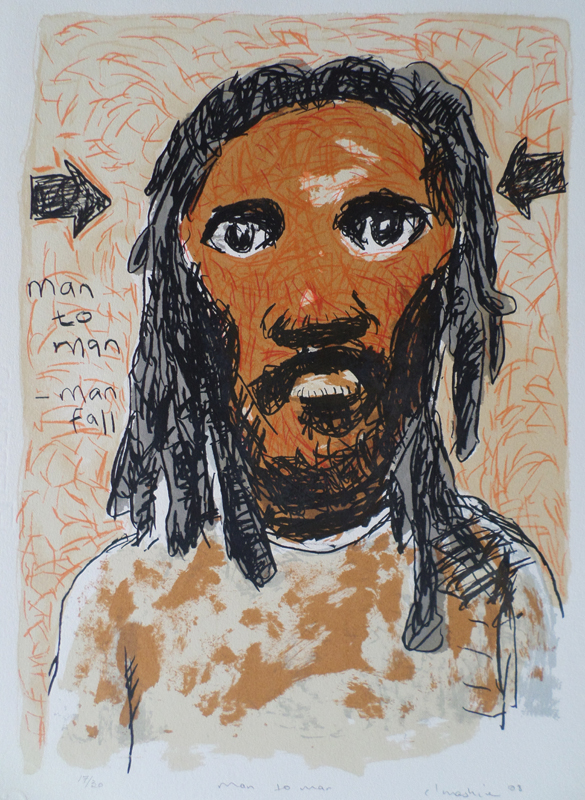 Colbert Mashile    Man to Man   2008  screenprint   edition size  30   image  49 x 35 (h x w)