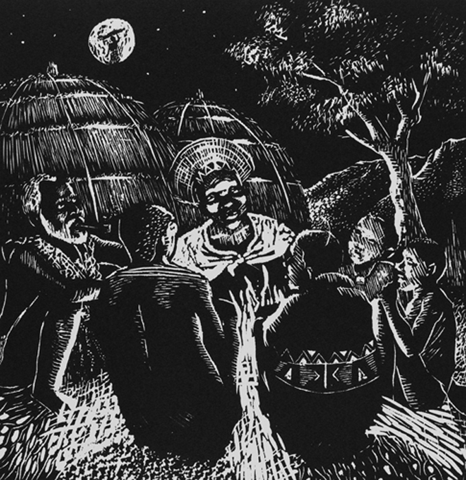 Sthembiso Sibisi      The Story Teller     1995     linocut    edition 60