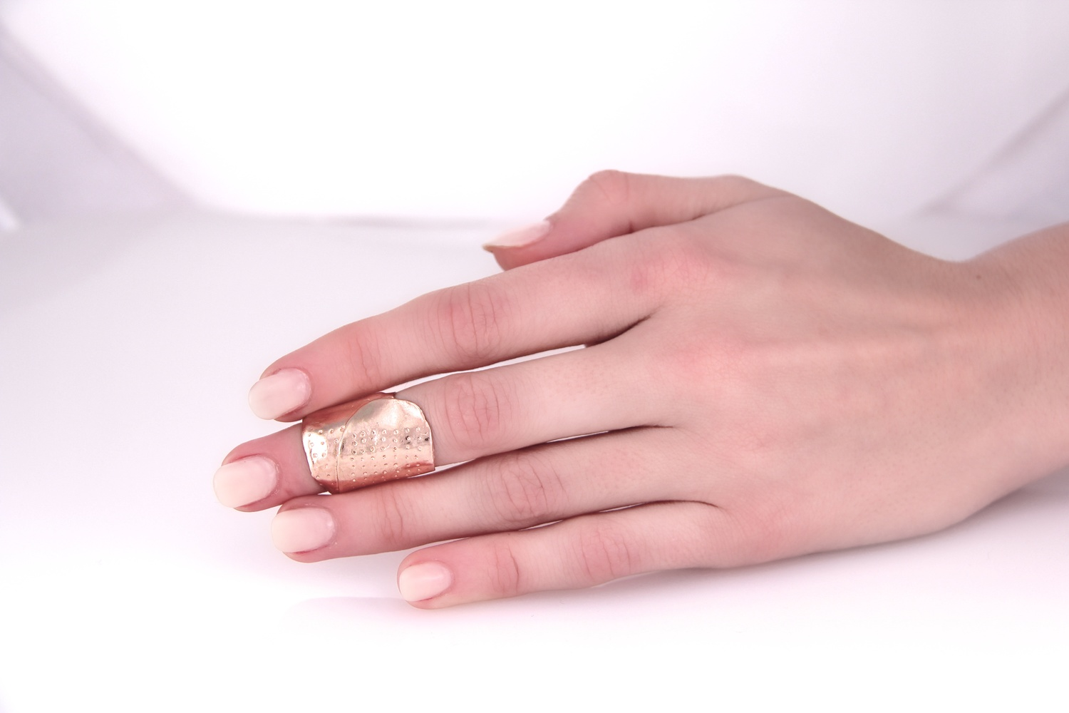Rose Gold Wrap    Ring B , size 3, front view, our most popular knuckle wedding ring / Rose Gold-Plated
