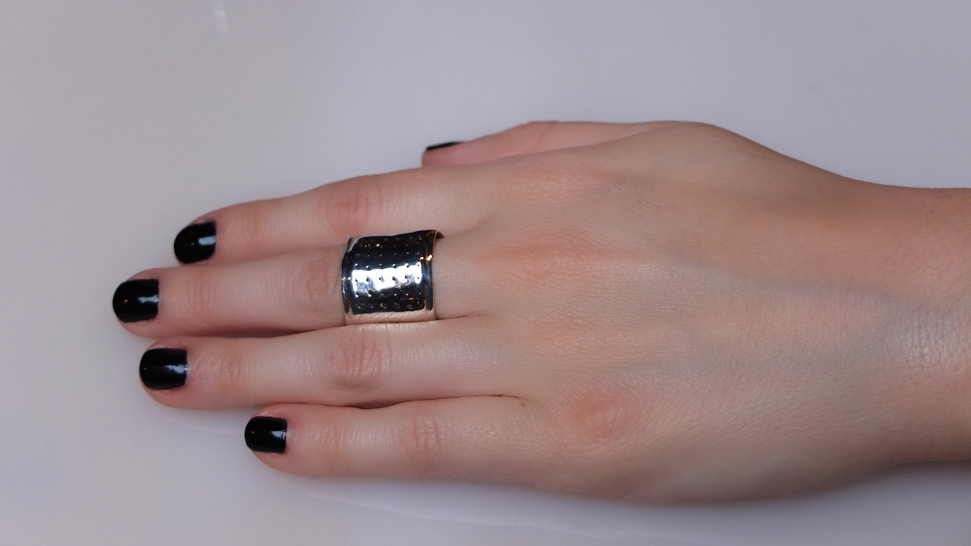 Womens Sterling Silver Traditional Band-Aid Ring