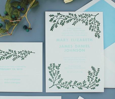 Letterpress wedding suite designed for Modern Luxury Brides Atlanta.