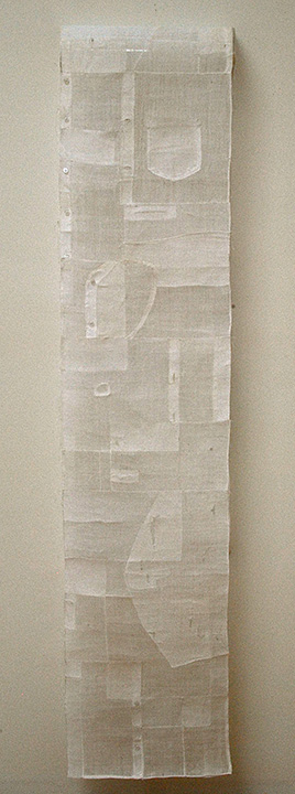 """'trace'  2012  160"""" x 15"""" repurposed old ramie korean blouses, buttons, machine and hand stitching"""