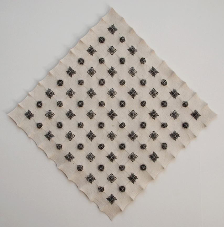 "'meiosis'  2007  25"" x 25"" x 1.5"" industrial felt, silkscreen printing, hand stitching"