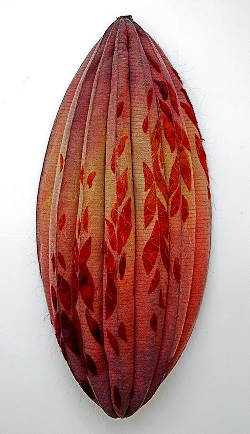 """'pod'  1999  58"""" x 27"""" x 8"""" industrial felt, handmade felt, fibre reactive dye, silkscreen printing, machine & hand stitching"""