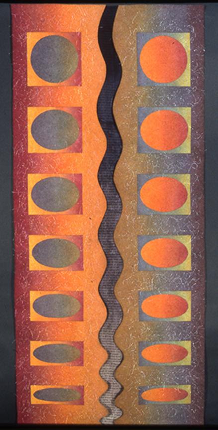 "'meditating'  1998  78"" x 31"" industrial felt, silk dupioni, fibre reactive dye, silkscreen printing, machine & hand stitching"