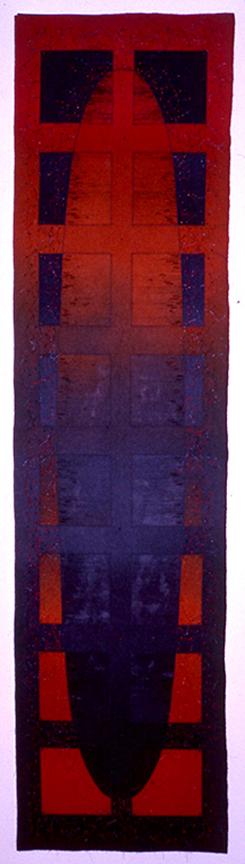 "'the music keeps me going'  1998  78"" 15"" industrial felt, silkscreen printing, machine & hand stitching"