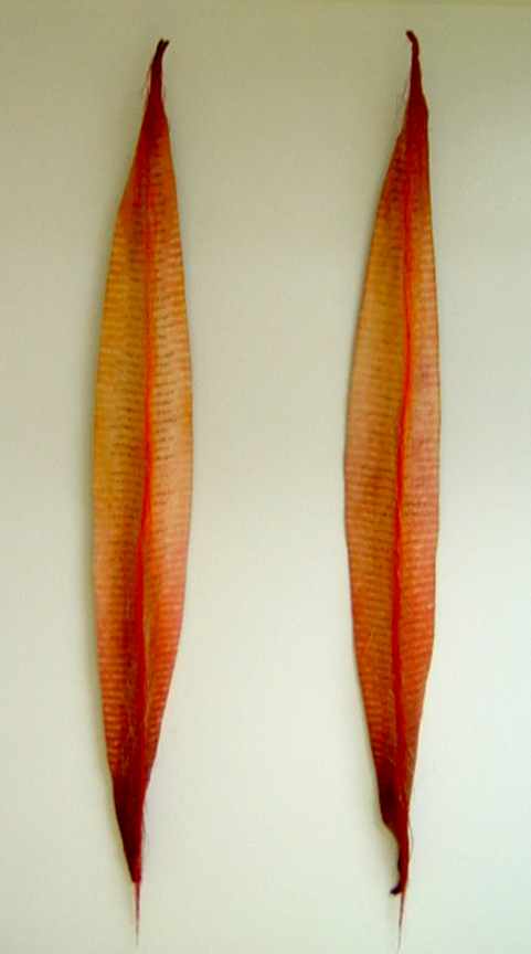 """'yips'  1999   40"""" x 5"""" x 4"""" industrial felt, fibre reactive dye, embroidery thread, discharge printing, machine & hand stitching"""