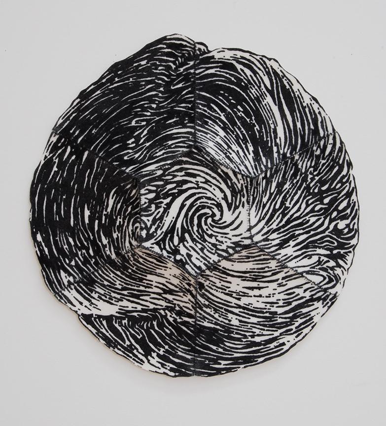 "'hweori 2'  2012  12.5"" x 12.5"" x 1.5"" industrial felt, silkscreen printing, hand stitching"