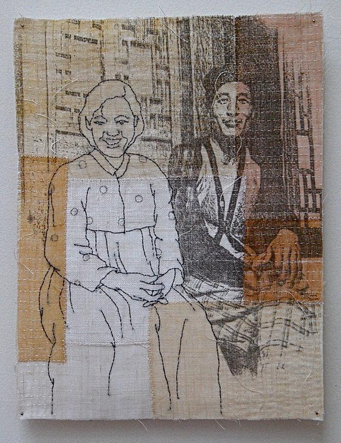 "'1960'  2005  10.5"" x 8"" ramie, hemp, natural dyes, silkscreen printing, machine & hand stitching"