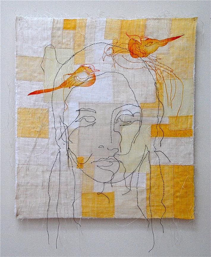 """'unni'  2004  18"""" x 16"""" ramie, hemp, natural dyes, stencil, machine & hand stitching"""