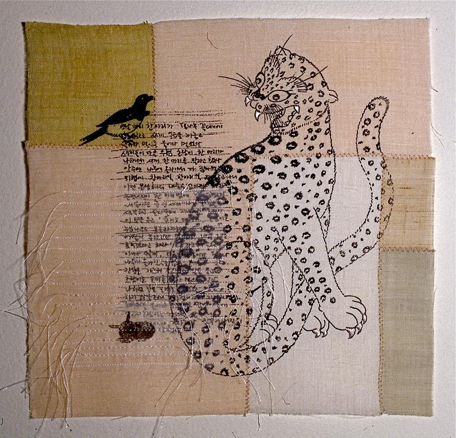 "'magpie & tiger 1'  2004  10"" x 10"" ramie, hemp, silk organza, natural dyes, silkscreen printing, machine & hand stitching"