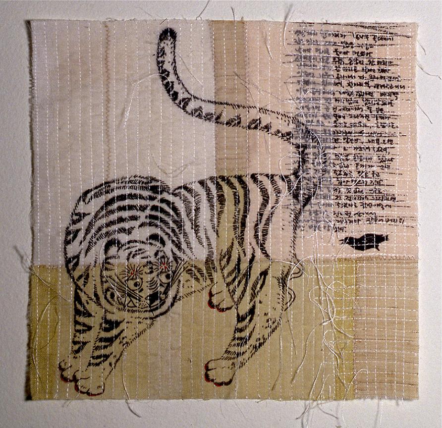 "'magpie & tiger 2'  2004  10"" x 10"" ramie, hemp, silk organza, natural dyes, silkscreen printing, machine & hand stitching"