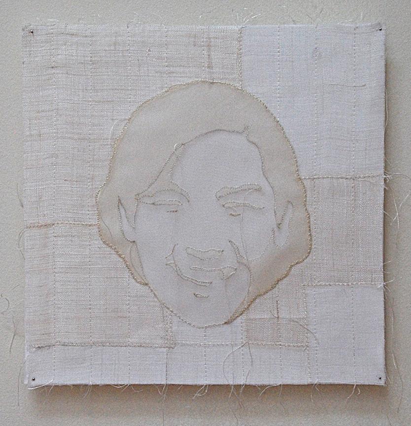 "'umma 1'  2005  10"" x 10"" ramie, hemp, silk organza, machine & hand stitching"