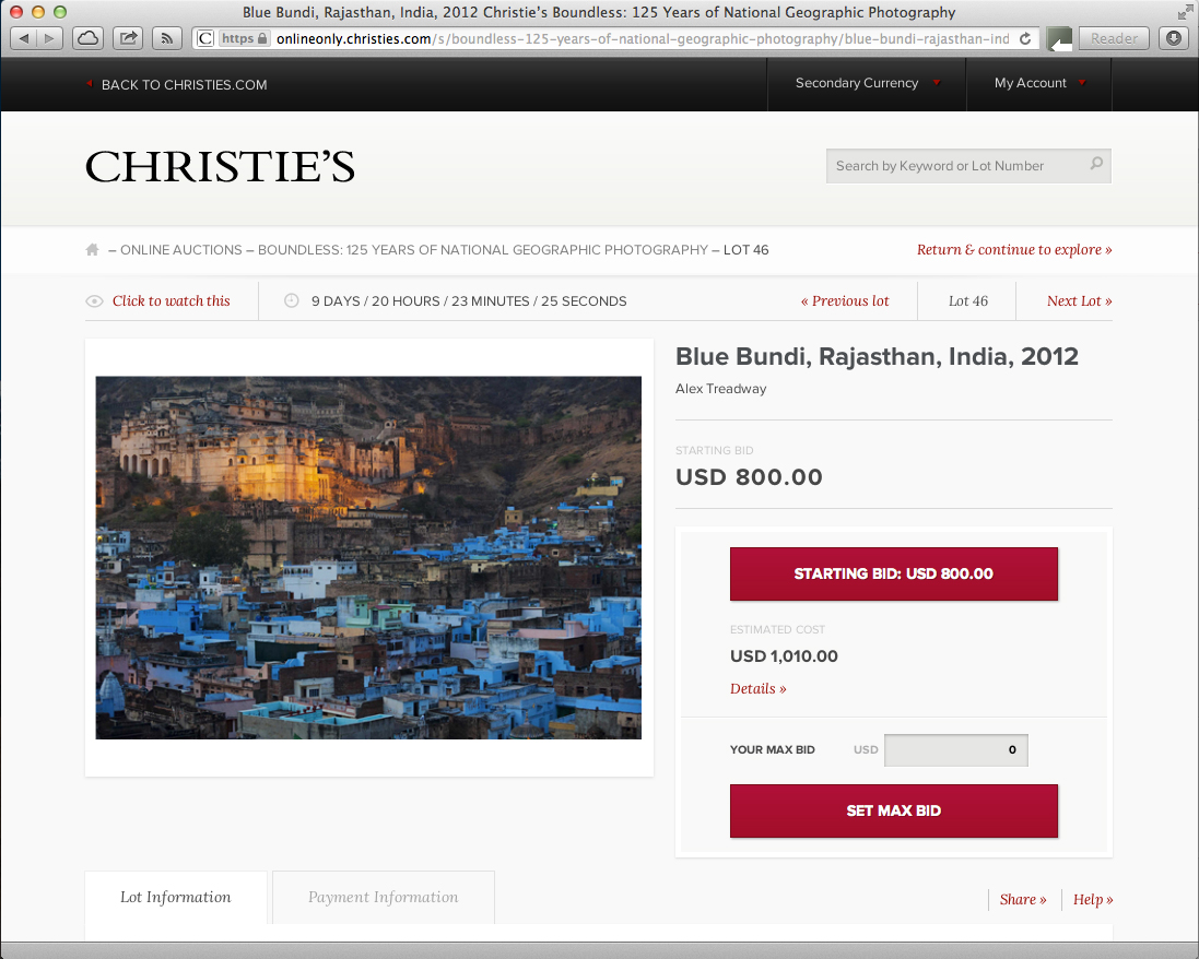 Blue Bundi print / National Geographic auction   http://onlineonly.christies.com/s/boundless-125-years-of-national-geographic-photography/blue-bundi-rajasthan-india-2012-46/1297/