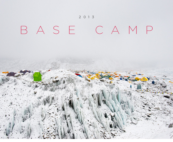 NEWSLETTER JUNE 2013  In April when the climbing expeditions arrived at Everest Base Camp, what was previously one of the most desolate places on earth transformed into a festive sprawl of multi-coloured tents and prayer flags. A total of sixty-five expeditions built their home on the glacier this year catering for well over a 1000 climbers. However, weeks before any of the climbers arrived, the Sherpas were already there building the camp. They also build a shrine to give Puja (prayers) to the mountain. When I arrived on April 19th the weather quickly changed and clear skies washed over white. The whole of Base Camp had been dusted in a thin layer of snow and adopted a stark beauty which I had not seen before.