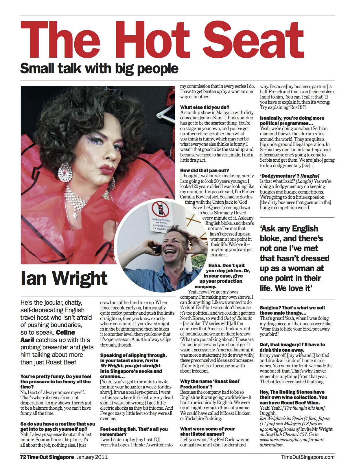 Ian Wright in Time Out Singapore's 'The Hot Seat'