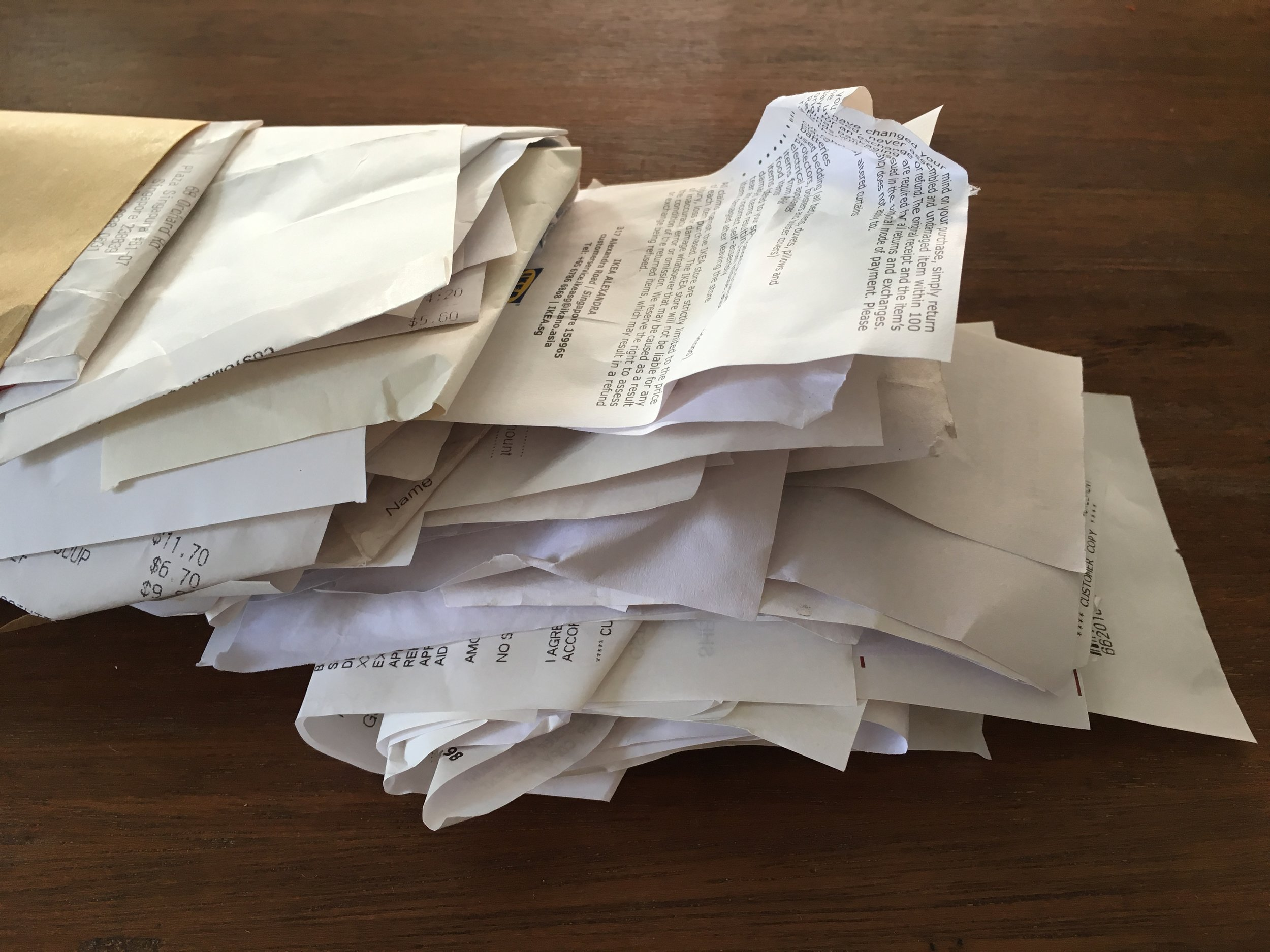 Receipts I've collected over the year -- this is just a handful