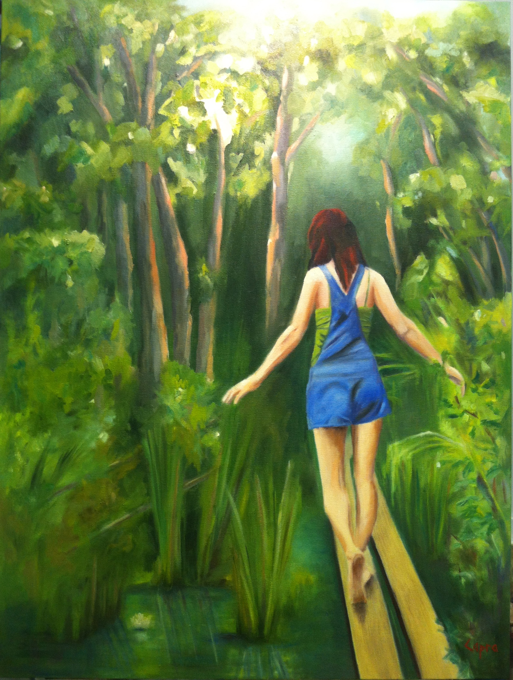 Trail to Moss Glen Falls, oil on canvas, 2012    36x48