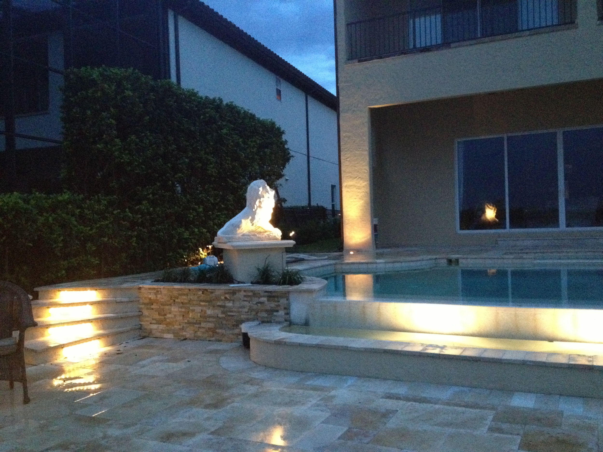 Lower Travertine Terrace Extension & Lighting