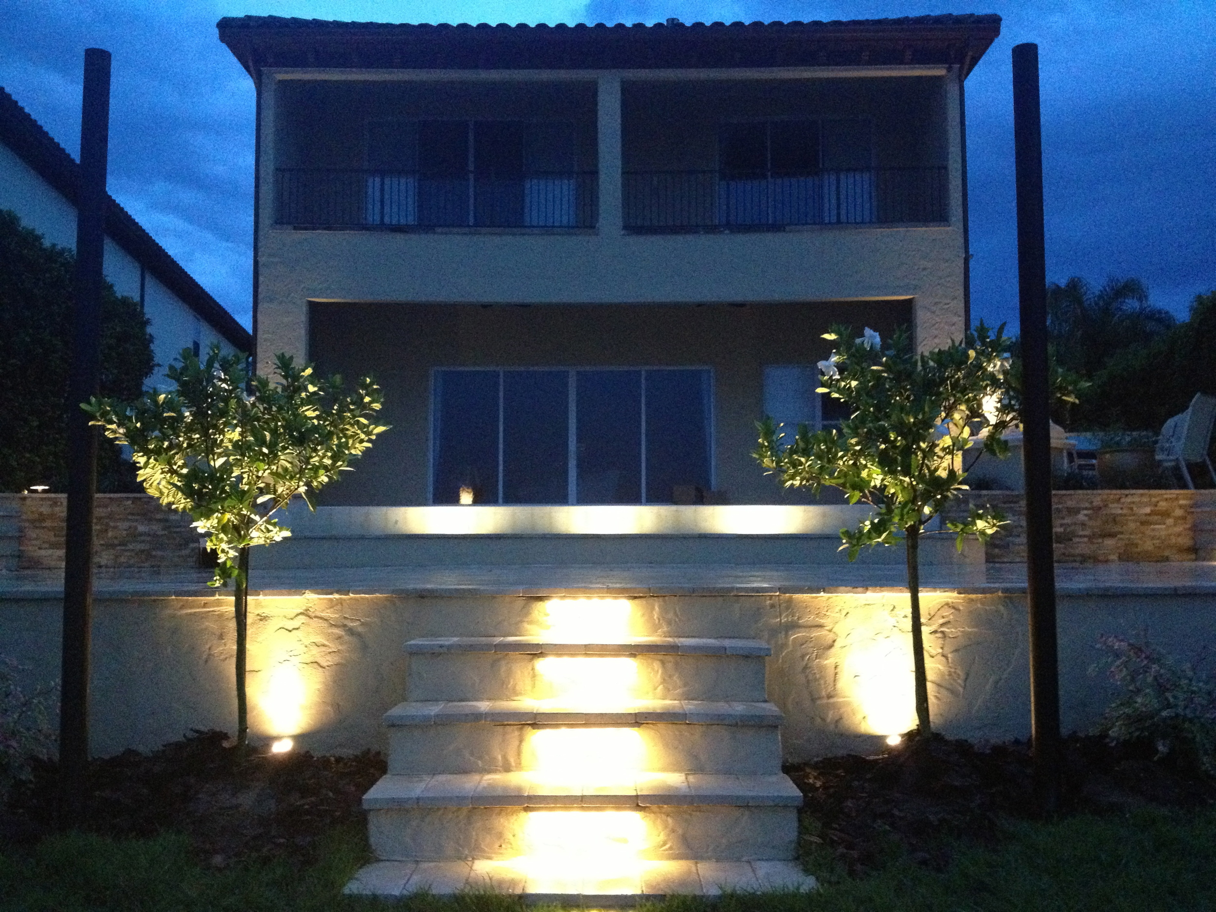 New Stepdown with Lighting from Lower Terrace to the  new Garden overlooking Sand Lake.
