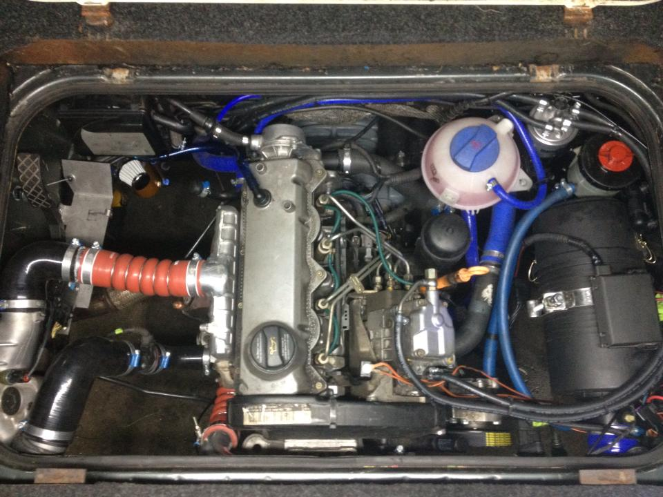 A TDI engine conversion using a 2003 ALH VW inline 4 cylinder.