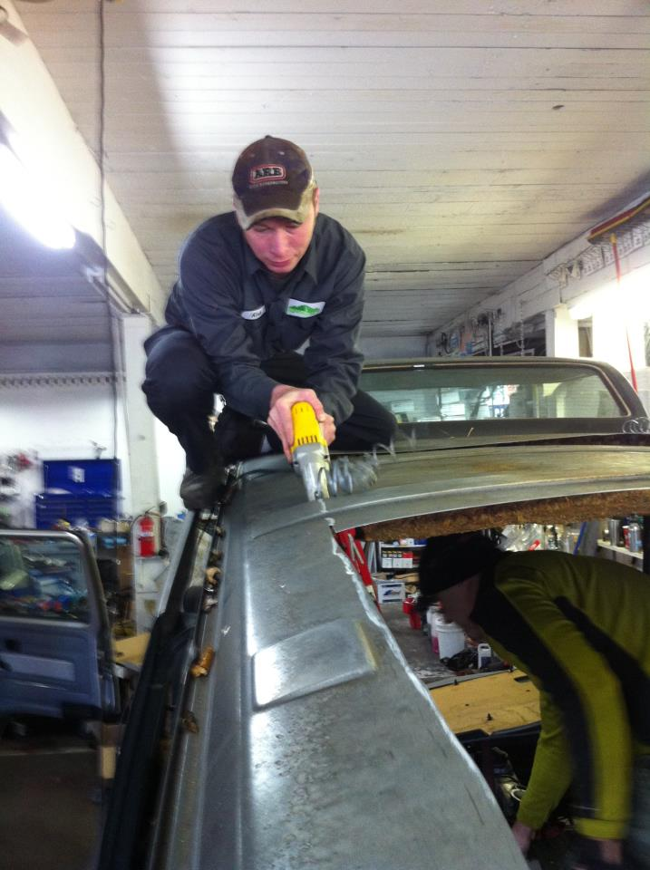 Measure many times, cut once: North Westy owner Kirk Meeks on step one of a poptop conversion.