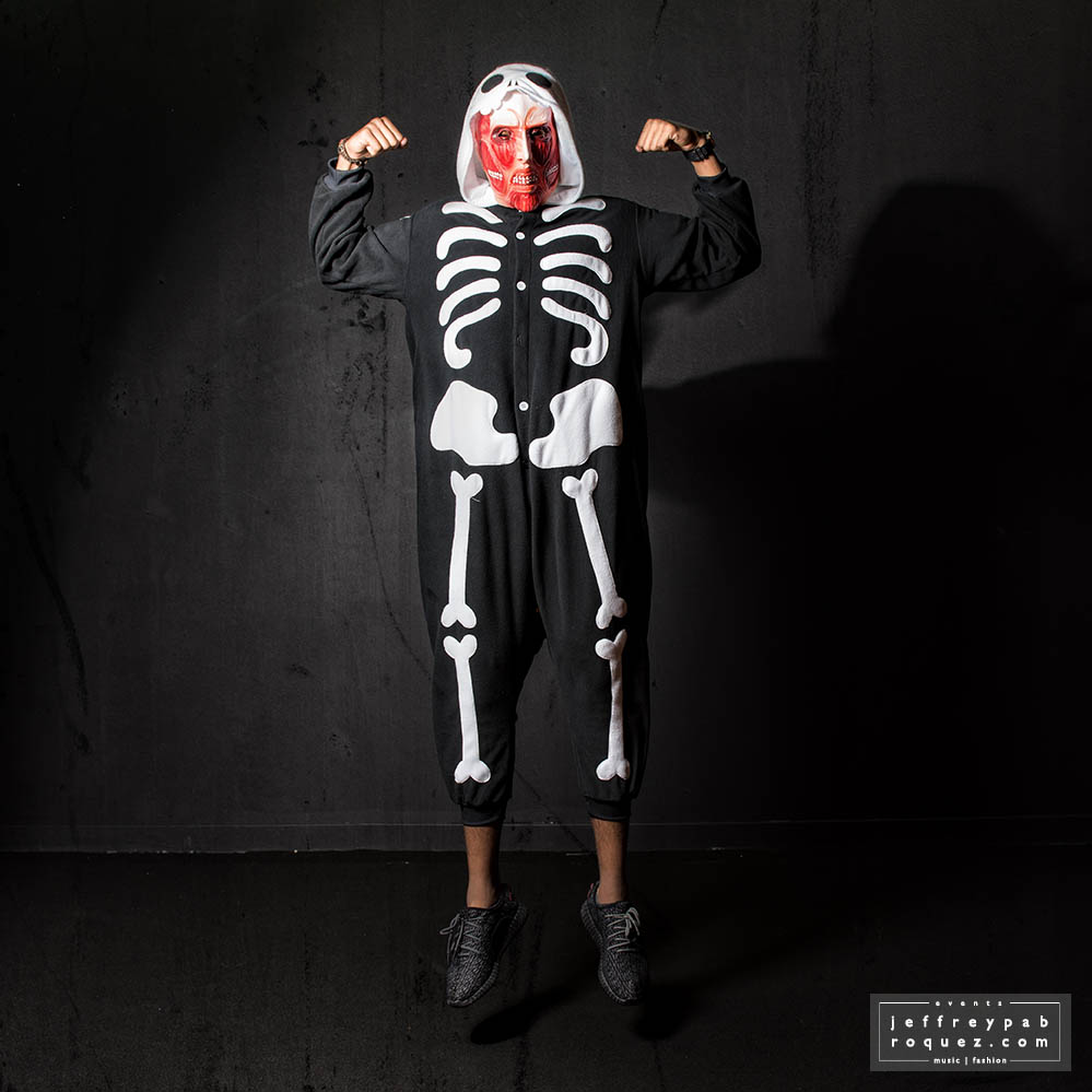 Colossal on skeleton onesie