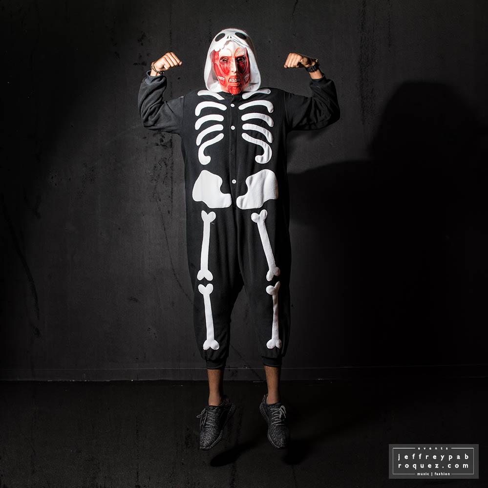 Colossal on skeleton onesie