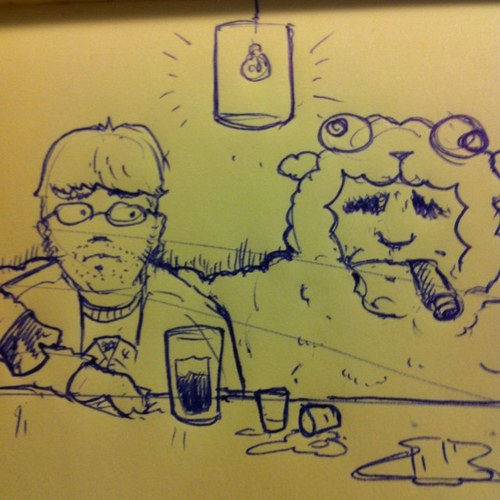 portrait of the idiot savant next to a sheep man  by a talented man .