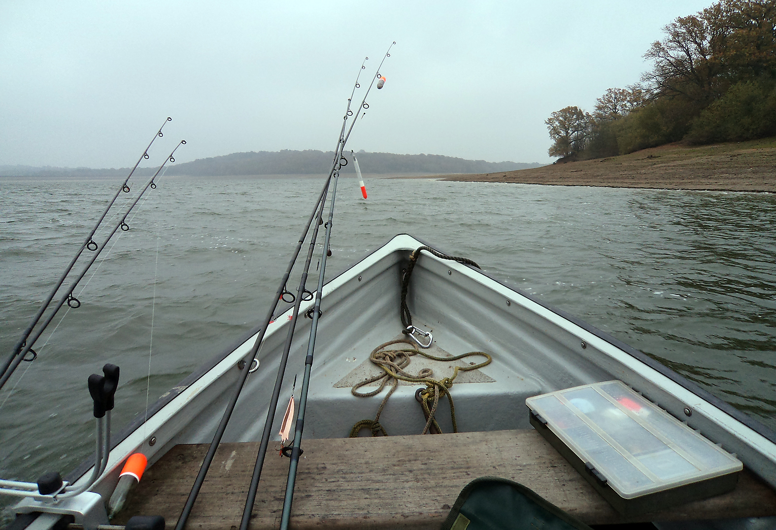 Pike fishing on Bewl Water, one of the big reservoirs, glad we had an engine