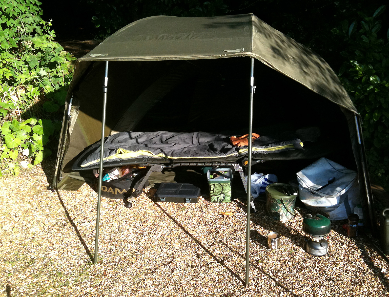 With all four storm poles attached (all supplied) the brolly's extremely stable