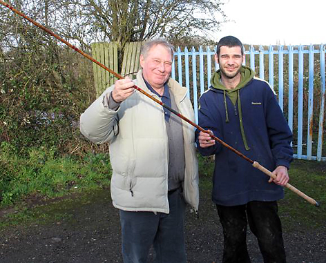 Osprey SG chairman, and my travelling companion for the day (left), picking up his new split cane from Ryan