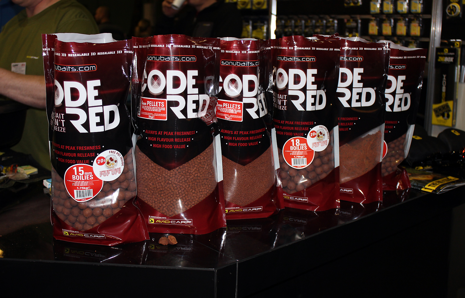 Sonubaits latest bait release, Code Red, the range includes boilies, pellets and groundbait