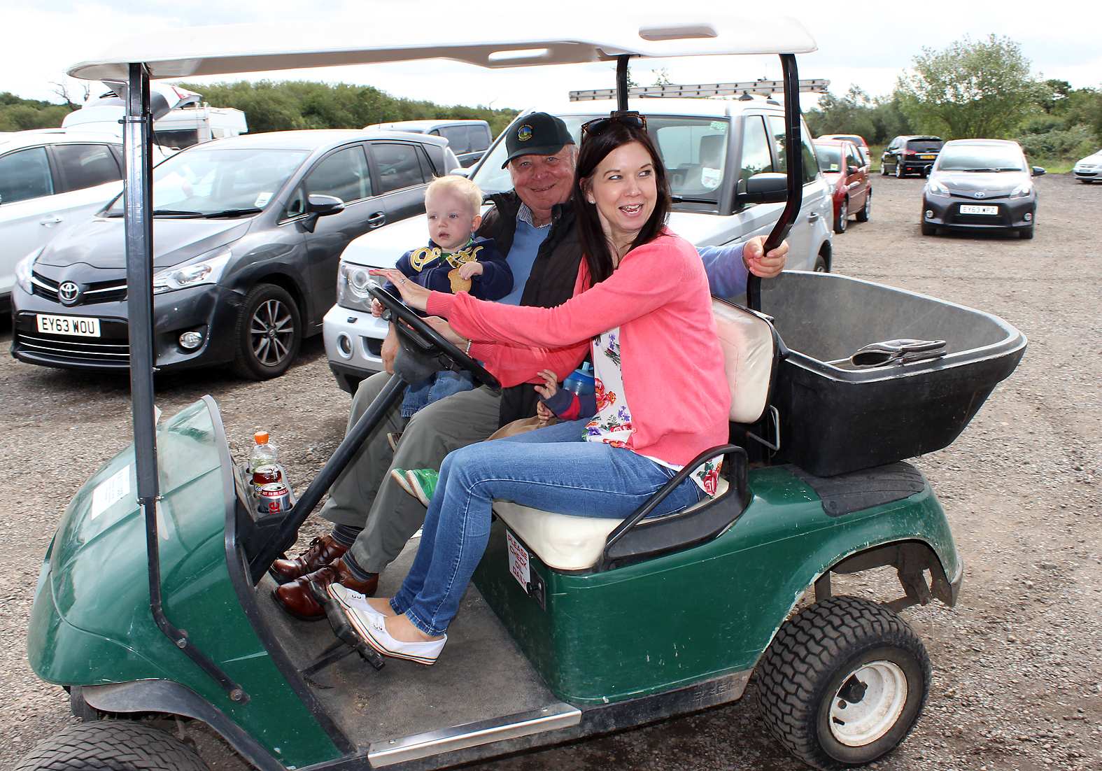 And off we go! Jo steers the golf buggy on an impromptu tour of the venue
