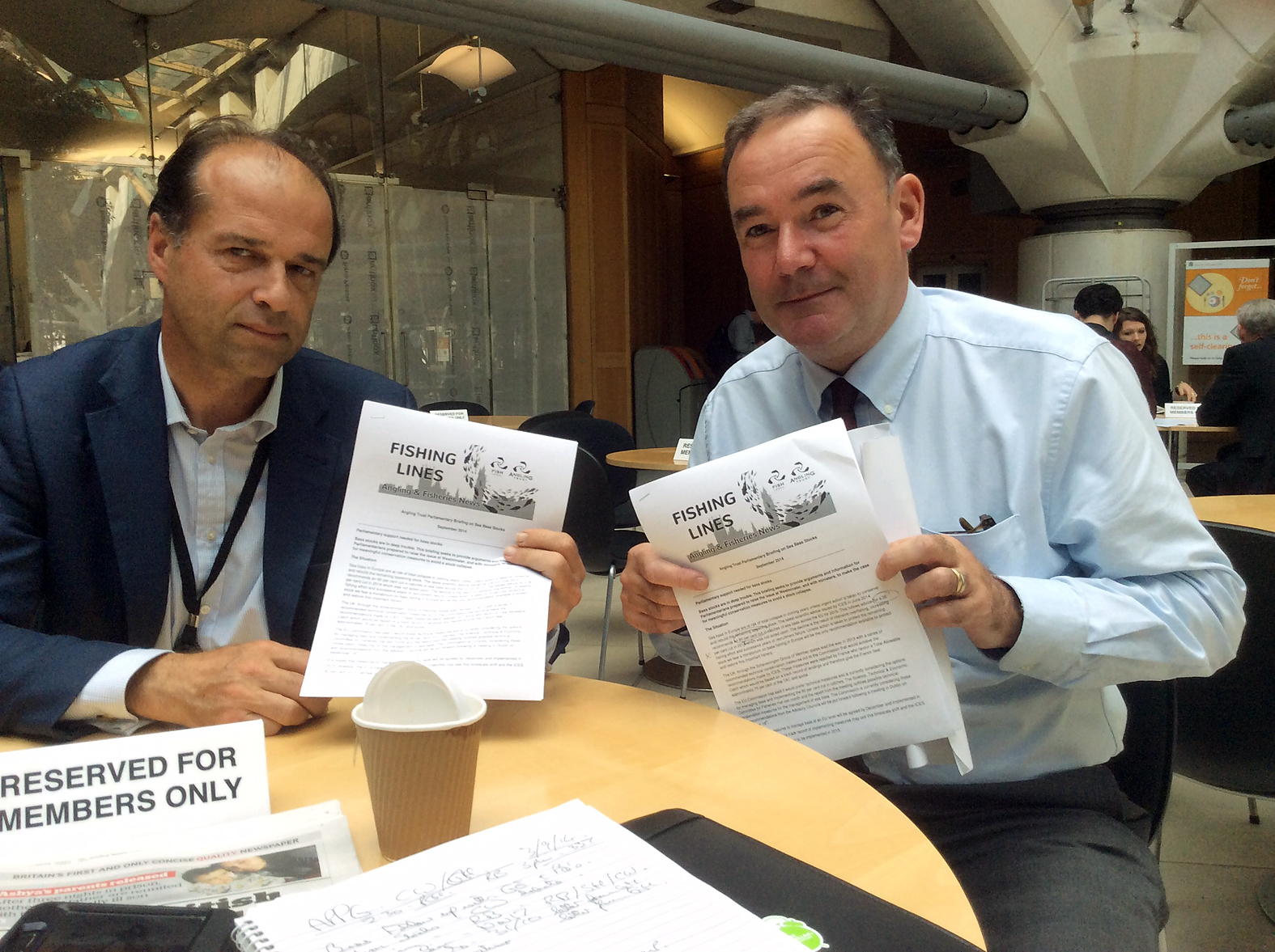 MPs George Hollingbery and Jon Cruddas with AT Bass Briefing in the House of Commons
