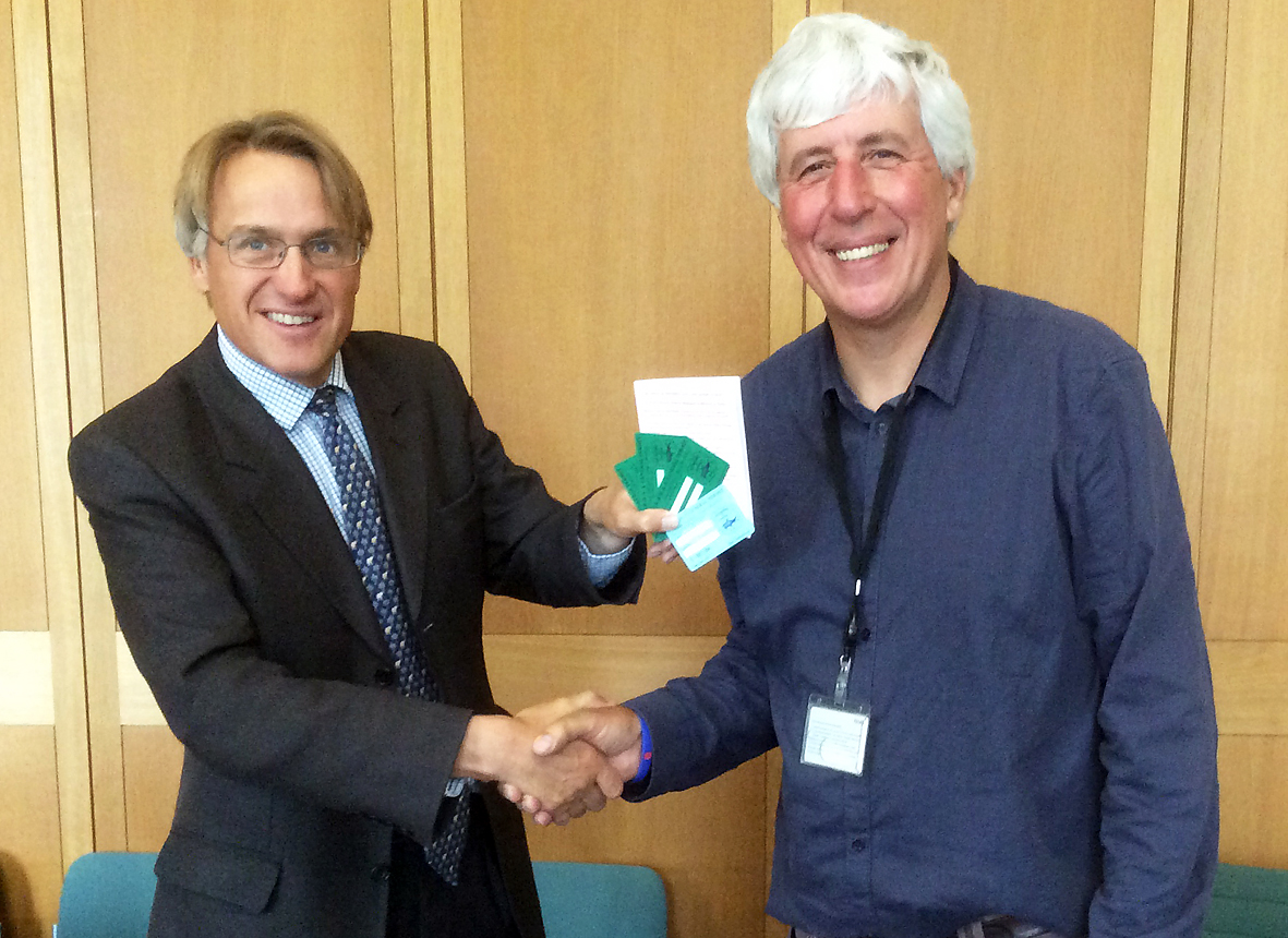 Charles Walker MP receiving his Reading & District AA Membership Card from club president Martin Salter