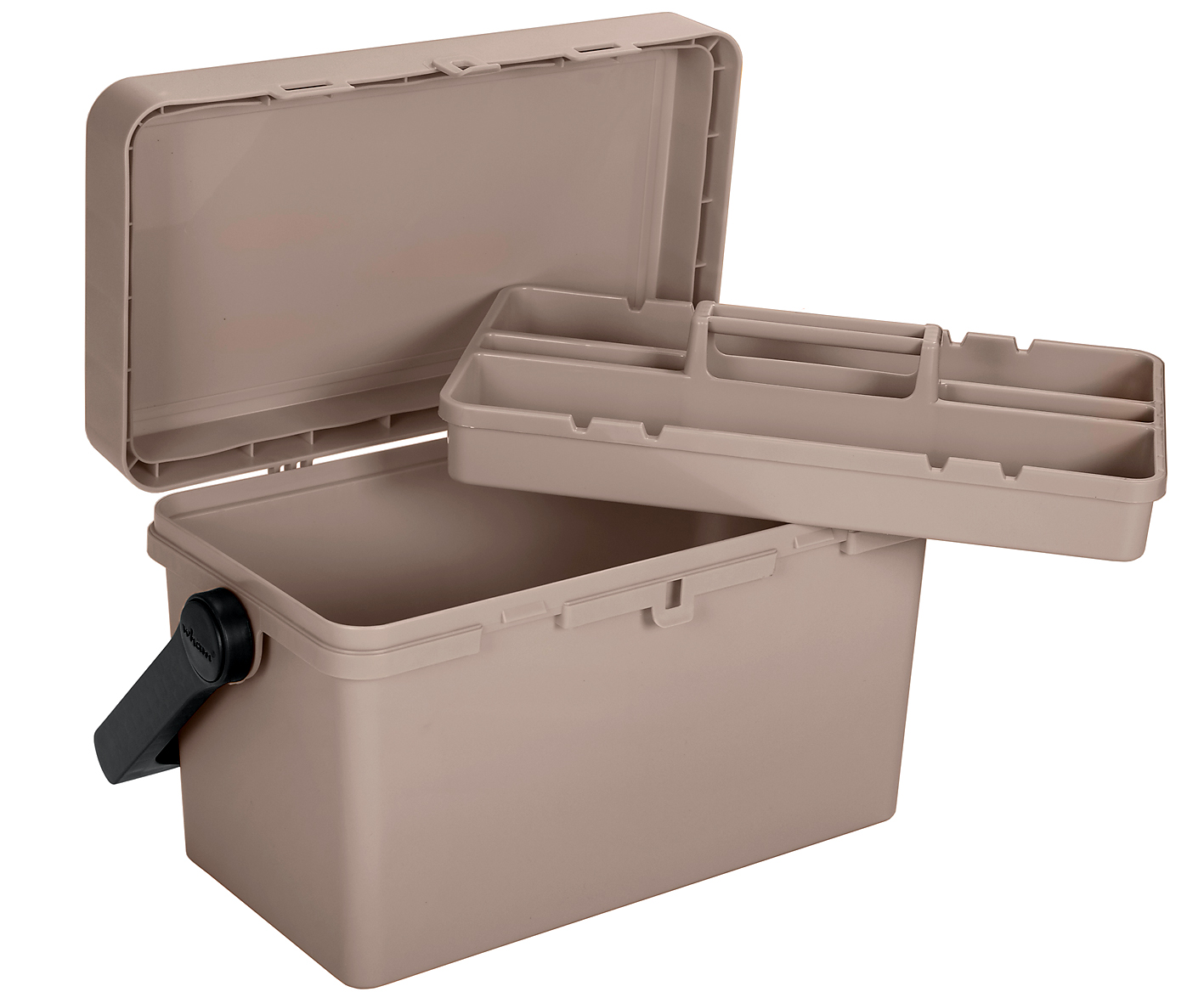 Or a fishing toolbox with removable tray and metal handle