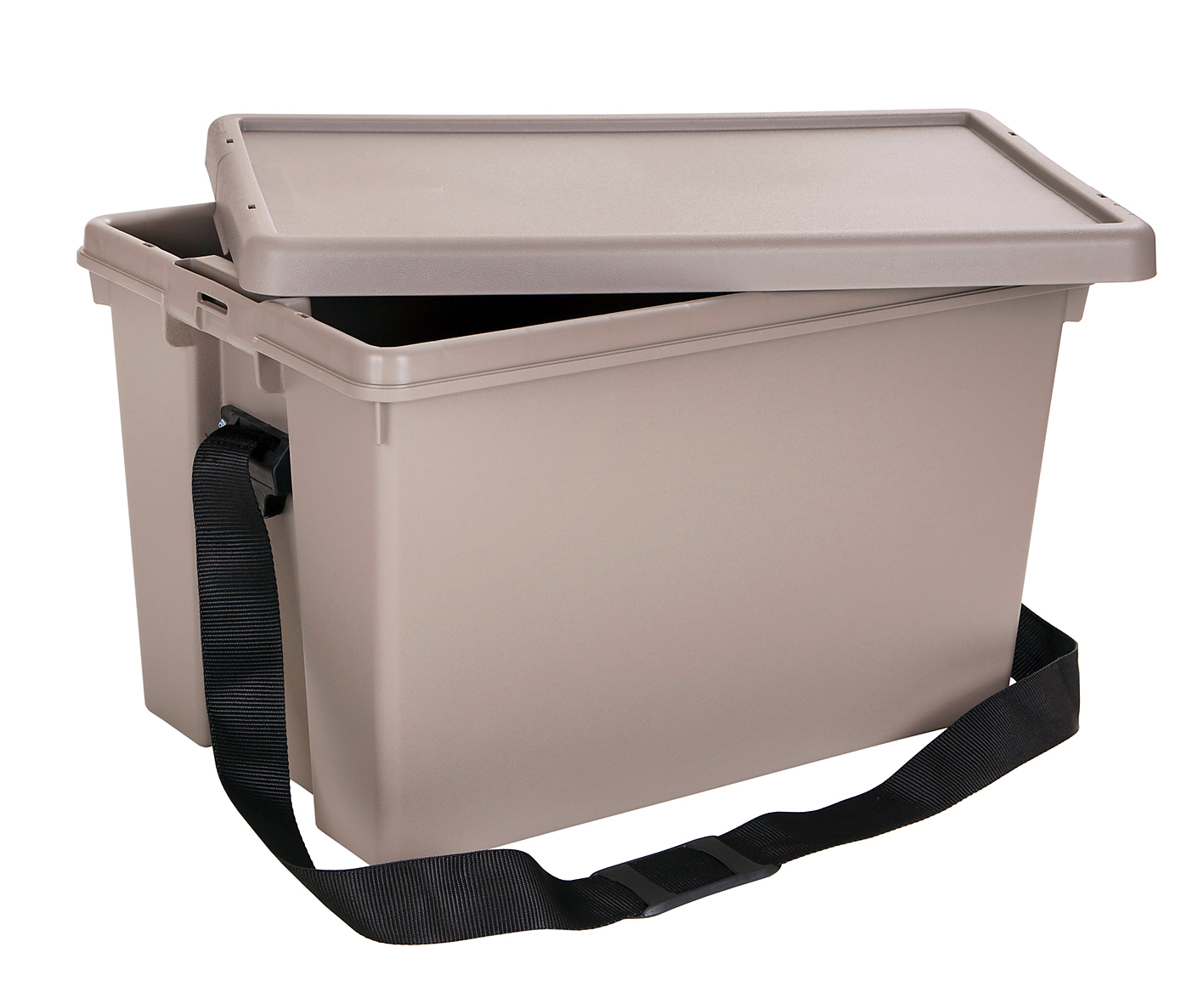 Another option, the same 62-litre box fitted with a comfortable carrying strap