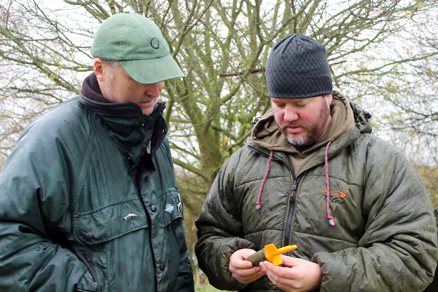 I'm getting the full run down on the FishSpy's technical specifications from Allan (right)