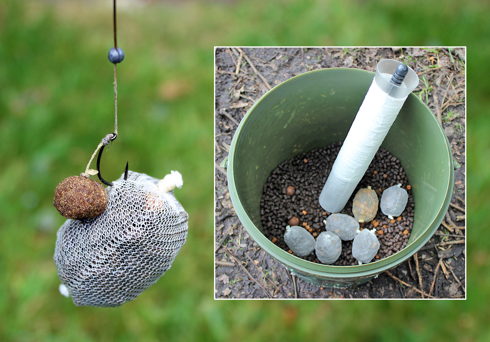 Hair-rigged pellet, with a pva bag nicked on the hook