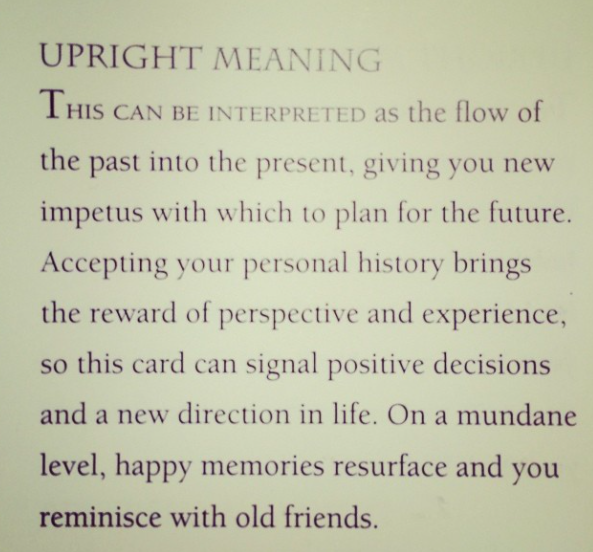 Six of Cups from my July Tarot reading. Dead on.