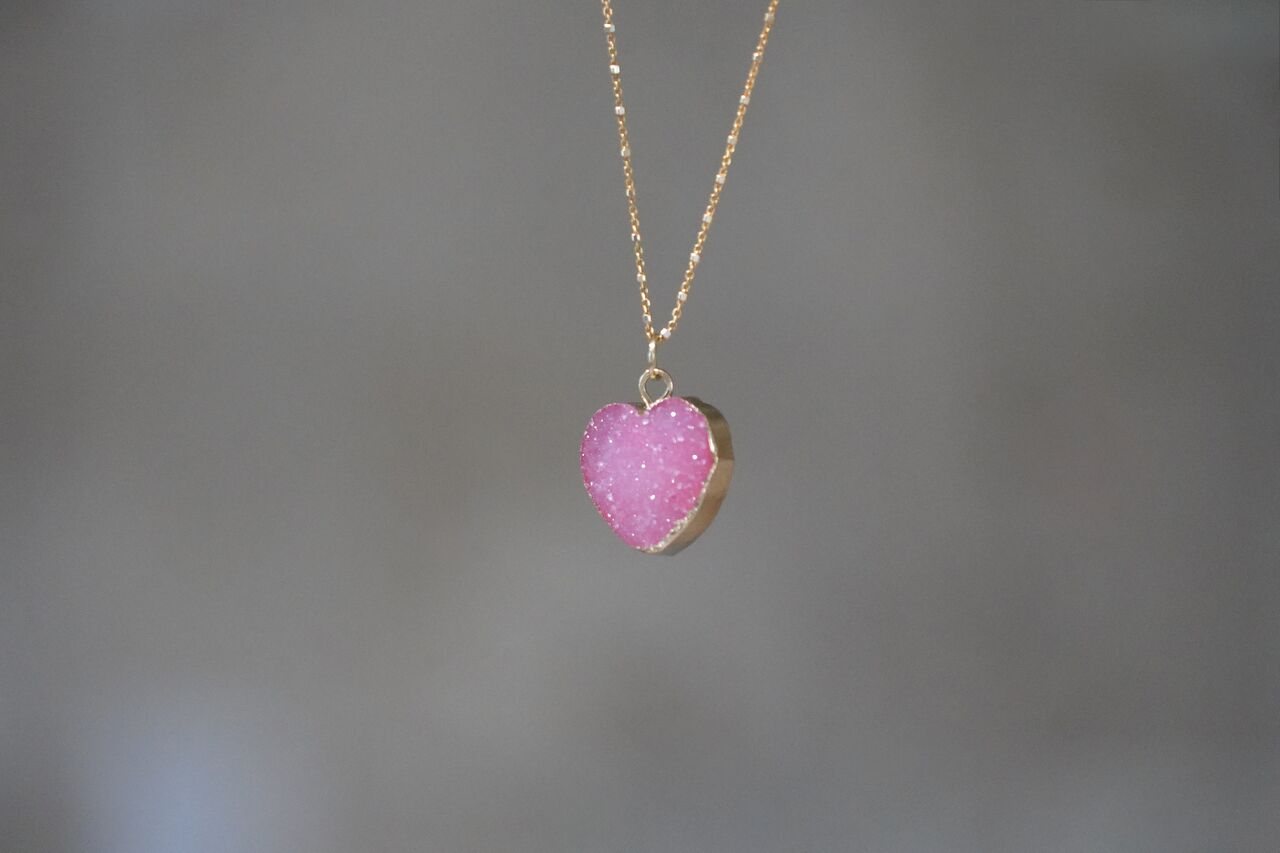 Druse Heart Necklace